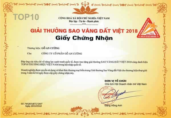 VIETNAM GOLD STAR AWARD 2018